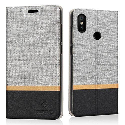 RIFFUE Funda Xiaomi Mi A2 Lite/Redmi 6 Pro, Carcasa Delgada Libro de Cuero con Tapa Cartera de Ranura y Billetera Elegante Case Cover para Xiaomi Mi A2 Lite/Redmi 6 Pro - Gris