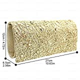 Wocharm Womens Luxury Sequin Diamond Evening Clutch Bag Gold Silver Black Handbag Ladies Purse Eye Catching Party Bags (Gold)
