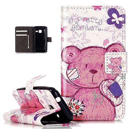 Kompatibel mit Galaxy J1 Mini Hülle,ikasus Prägung Geprägte Muster PU Lederhülle Soft Silikon Flip Hülle Handyhülle Cover Ständer Tasche Wallet Case Schutzhülle für Galaxy J1 Mini,Rosa Blumen Bär
