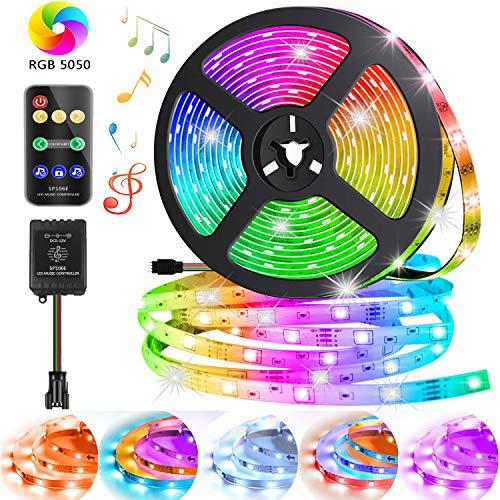 MIROCOO Led Streifen 5M, Musiksteuerung RGB LED Strip, 12V IP65 Wasserdicht LED Band, LED Stripes mit Fernbedienung, 150 LEDs SMD5050 Led Lichtband Perfekt für Decke, Balkon, Küche und Weihnachts