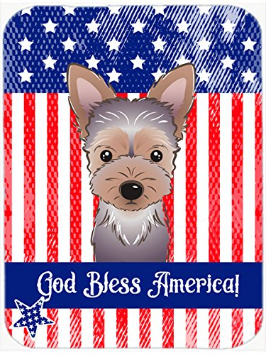 God bless American Flag with Yorkie Puppy tappetino per mouse, presina o sottopentola BB2162MP