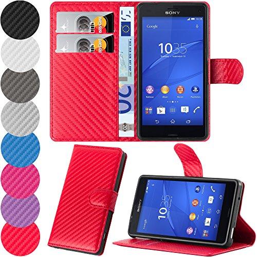 HANDYPELLE Tasche für Sony Xperia Z3 Compact im Bookstyle in Rot in Carbon-Optik