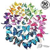 ivencase® 96 Stück 3D Schmetterlinge Wanddeko Dual Layer Aufkleber Abziehbilde für Wohnung, Raumdekoration mit klebebuttons und Magnet, Geschenk für Kinder, Mutter, Freundin, Hochzeit, 8 Farbe