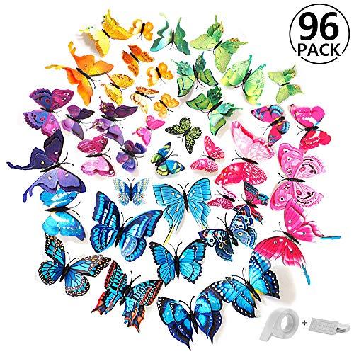 Girl Kostüm Unglaubliche - ivencase® 96 Stück 3D Schmetterlinge Wanddeko Dual Layer Aufkleber Abziehbilde für Wohnung, Raumdekoration mit klebebuttons und Magnet, Geschenk für Kinder, Mutter, Freundin, Hochzeit, 8 Farbe
