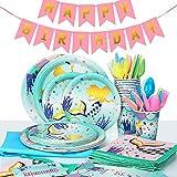 MOOKLIN ROAM Set di Articoli per Feste Sirena, Servizio da tavola da 134 Pezzi Decorazione di Festa di Compleanni 16 Ospiti Include Banner Piatti Copritavolo Coppe Tovaglioli per Feste di Carnevale