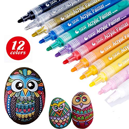 Enamel Paint Marker (TB® Acrylic Paint Marker Pens, for Painting Stones, Pebbles, Rocks, Wood, Glass, Pottery, Ceramic, Mugs, Fabric Metal, Medium tip, Non Toxic, Set of 12 Colour)