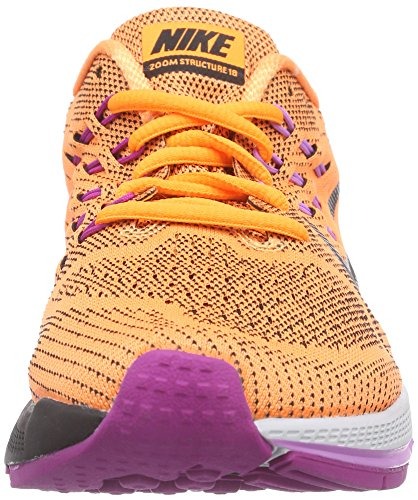 Nike Air Zoom Structure 18, Chaussures de Running femme Orange (Bright Citrus/Black/Fuchsia Flash)