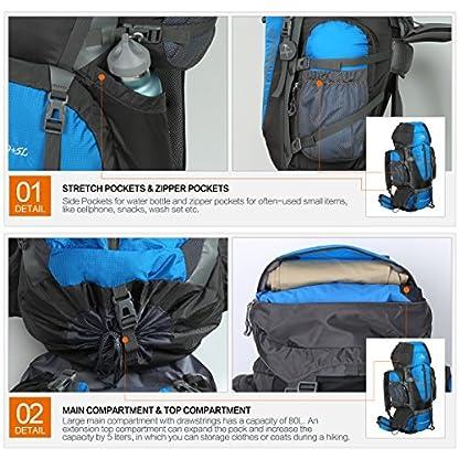 HWJIANFENG Backpack for Outdoor Sports Hiking Traveling Trekking Camping Waterproof Mountaineering Ultralarge Capacity Internal Frame Men Women 80L+5L 6