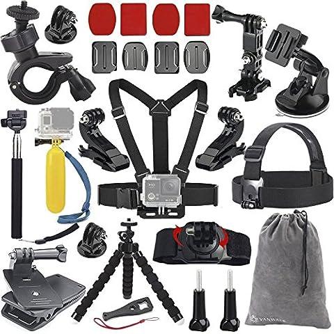 Vanwalk Zubehör-Kit für GoPro 5 4 3+ 3 2 1, SJCAM SJ4000 SJ5000 SJ6000 SJ7000, (20 In 1 Kit)