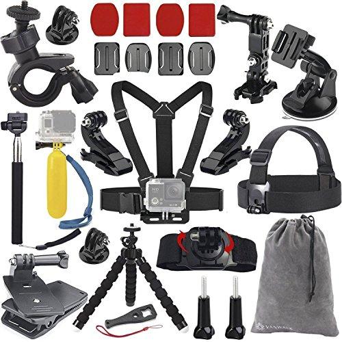 Vanwalk Accessories Bundle Kit for GoPro Hero 5 4 3+ 3 2 1 Black Silver Camera for SJ4000 SJ5000 SJ6000 SJ7000, Xiaomi Yi, DBPOWER (20in1)