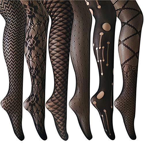 ANDIBEIQI Collants Bas Résille 6 Paires Femmes Hollow Collant extensible filet élastique confortable noir/motifs fleurs, 6 Noir, Taille uniqu