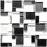 Mosaik Fliese Transluzent Aluminium weiß grau Kombination Glasmosaik Crystal Stein Alu weiß und grau für WAND BAD WC DUSCHE KÜCHE FLIESENSPIEGEL THEKENVERKLEIDUNG BADEWANNENVERKLEIDUNG Mosaikmatte Mosaikplatte