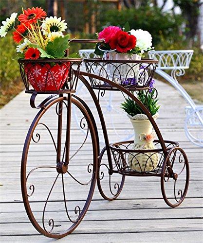 Regal im Wohnzimmer Schlafzimmer Küche Eisen Blumentopf Regal Eisen Fahrrad Blume Rack Europäischen Eisen Blumentopf Regal Wohnzimmer Balkon Blumentöpfe Regal Dekoration Rack YYJRR-Eckregale ( Farbe : Messing , größe : 83*55.3*23cm )