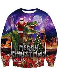 RAISEVERN Weihnachten Pullover Jumper, Herren Damen Unisex Lustige  Sweatshirts hässliche Pullover 3D Printed Xmas Grafik Santa Long… 7724d7e2b2
