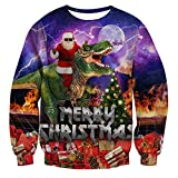 RAISEVERN College Teens Chritmas Pullover Pullover lässig O-Ausschnitt Pullover Tops mit Santa Dinosaurier Muster Langarm hässlichen Outfits für Männer/Frauen