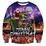 RAISEVERN College Teens Chritmas Pullover Pullover lässig O-Ausschnitt Pullover Tops mit Santa Lightning Dinosaurier Muster Langarm hässlichen Outfits für Männer/Frauen hoch