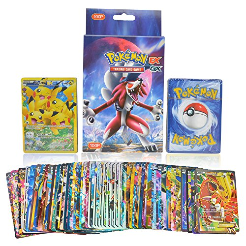 KidsDelight® Pokemon Original EX GX Trading Card Game Rare Gold Pack of 100 Assorted cards with 20pcs GX + 20pcs MEGA + 59pcs EX + 1 piece Energy cards, 2018 Latest Collector's Edition (No Duplicat