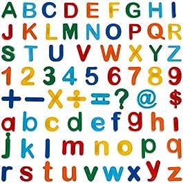 Anpro 90 Pezzi Giocattoli Educativi Lettere e Numeri Magnetici per Bambini,Lettere Magnetiche per ed