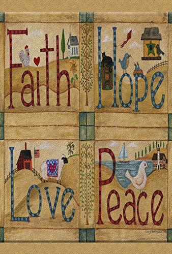 Toland Home Garden Faith Hope Love peace-decorative Americana Farm Home Rustic Garden Flagge, Textil, S-12.5 x 18