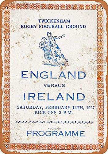mengliangpu8190 Tin Sign 7 x 10 Metal Sign 1927 Rugby England vs. Ireland Vintage Look Wall Sign Decorative Sign Retro Sign Aluminum Sign - 7 X 10 Rugby