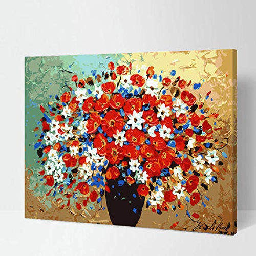 WYTCY Paint by Number Kit- Flowers in Bloom DIY Oil Painting by Numbers DIY digital Oil Painting on Canvas Home Decoration 40x50cm - Pre-painted Kit