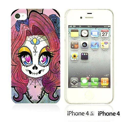 OBiDi - Skull Pattern Hardback Case / Housse pour Apple iPhone 4S / Apple iPhone 4 - Floral Skull Cute Skull Girl
