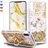 Feyten Coque iPhone XS Max avec Verre Trempé [Lot de 2], Shiny Étincelle Glitter Liquide Paillette Transparente 3D Housse Étui Anneau Stand Support pour iPhone XS Max (Or)