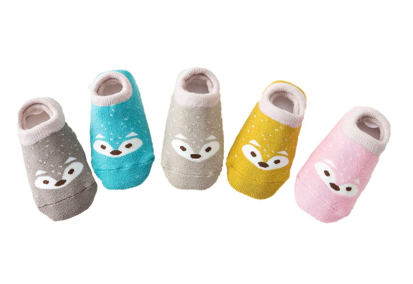 Estwell 5 Pares Calcetines Antideslizantes para Bebé Niños Infantil Niños Niñas Algodón Calentar Lindo Zorro Calcetines 3