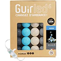 Guirlande lumineuse boules coton LED USB - Veilleuse bébé 2h - Adaptateur secteur double USB 2A inclus - 3 intensités…