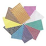 1cm Runde Punktaufkleber Farbkodierung Etiketten Markierungspunkte - 10 verschiedene Farben, 3000 Stück