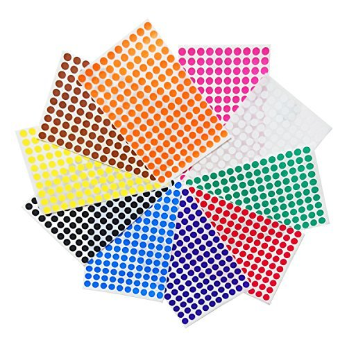 Preisvergleich Produktbild 1cm Runde Punktaufkleber Farbkodierung Etiketten Markierungspunkte - 10 verschiedene Farben, 3000 Stück