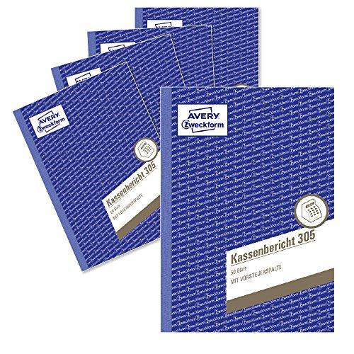 Avery Zweckform 305-5 Kassenbericht (A5, mikroperforiert, 50 Blatt) 5er Pack, weiß