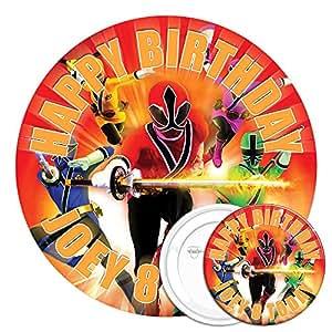 Power Rangers comestibles gâteau 19,1cm & 7,7cm badge à épingle d'anniversaire personnalisée avec image haute résolution