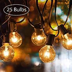 Garten Lichterketten, tronisky Schnur Lichter Innen/Außen Lichterkette 7.62M/25FT G40 Warmweiß Glühbirne Globus String Lights Wasserdicht Lichterkette Deko für Patio, Garten, Bars, Party, Weihnachten
