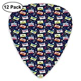 Guitar Picks12pcs Plectrum (0.46mm-0.96mm), Old Fashion Cassette Tapes With Stars Hearts Sound Tempo...