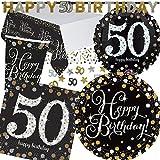 XXL-Partyset * SPARKLING CELEBRATION * für den 50. Geburtstag // mit Teller + Becher + Servietten + Tischdecke + Konfetti + Banner + Folienballon // Set Party Motto fünfzig
