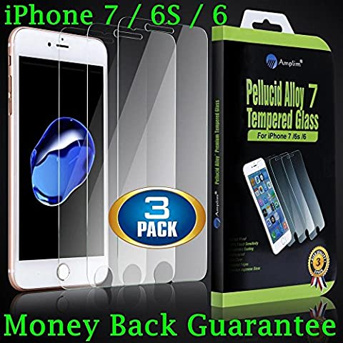 3-Pack Premium iPhone 7 6S 6 Tempered Glass Screen Protector. Amplim Case Friendly, Oleophobic, Anti Fingerprint, Scratch Proof, 3D Touch Ultra Clear HD, Invisible Front Cover / Film / Shield