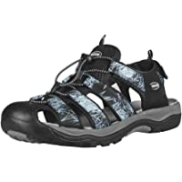 GRITION Mens Hiking Sandals Closed Toe Walking Sandals Hook and Loop Mesh & PU Upper Adjustable Heel Strap for Sports…