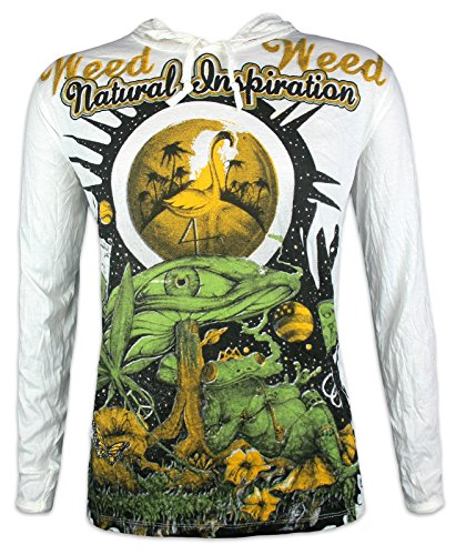 Weed Herren Kapuzen Longsleeve T-Shirt - Traumwelten Größe M L XL Magic Mushrooms Psychedelic Art Zauber-Pilze Frosch Goa-Party (Weiß XL) (Arten Von Goa)