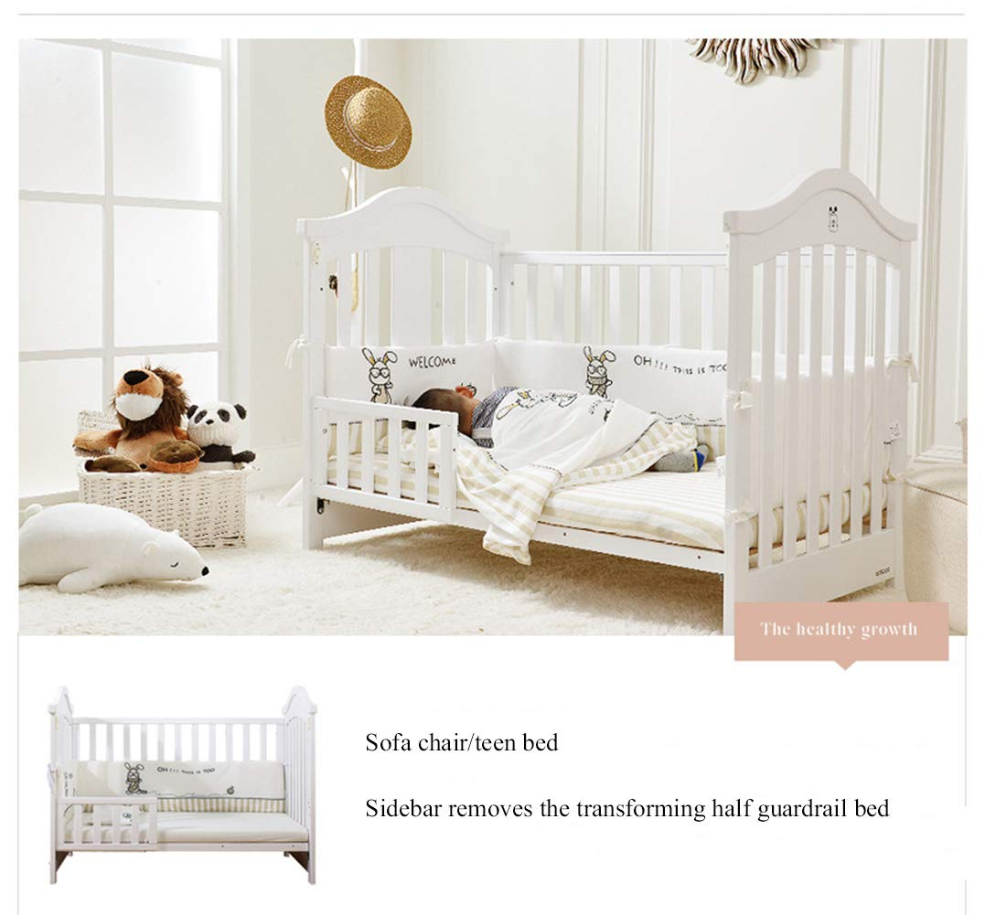 XUNMAIFLB Removable Toddler Bed, Wooden Baby Cot Bed, Crib, Solid Wood Splicing Bed, Cradle Bed (outer Diameter: 126.5 * 73.5 * 104cm/inner Diameter: 120 * 65cm) Safety XUNMAIFLB 6-12 months: The bed of the growing bed is adjusted to a safe depth of 2 blocks to protect the baby during the crawling period. 0-6 months newborn bed: 55.5cm scientific height, no need to deep bend, reduce spinal strain. More than 18 months: the sofa chair/teen bed sidebar removes the half-guard bed and cultivates the baby's ability to fall asleep independently. Can also be used as a sofa chair! 3