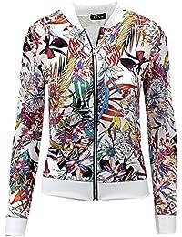 Crazy Girls Womens Classic Vintage Floral Camouflage Zip Up Bomber Harrington Jacket Coat 8-14
