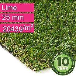 Kunstrasen Rasenteppich Lime für Garten - Florhöhe 25 mm - Gewicht ca. 2043 g/m² - UV-Garantie 10 Jahre (DIN 53387) - 2,00 m x 0,50 m | Rollrasen | Kunststoffrasen
