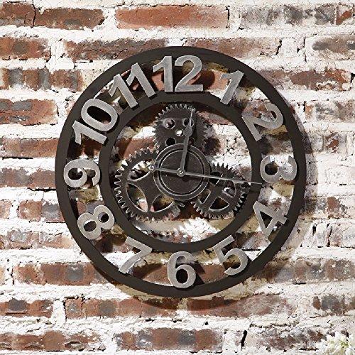 KHSKX Vintage Bar de vent industriel horloge murale, salon mur personnalité créatrice, calme bell, mode simple tableau suspendu