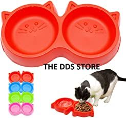 The DDS Store Plastic Cat Face Pet Double Bowl Non-Toxic Environmentally Friendly Dog Double Bowl - 1 Piece Color May Vary