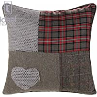 Ideal Textiles Patchwork Heart Cushion Covers Wool Blend Cushions Embroidered Tartan Check