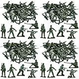 MEGA VALUE 100 x Traditional Green Army Men Combat Force Toy Plastic Soldiers Classic Kids Toy War Games by My Planet