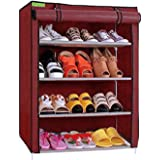 FLIPZON Premium 4-Tiers Shoe Rack/Multipurpose Storage Rack with Dustproof Cover (Iron and Fabric) (Maroon), Iron Pipes, Non