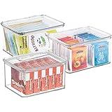 mDesign boîte de Rangement à Couvercle (Lot de 3) – bac Alimentaire en Plastique au Design empilable – Caisse de Rangement po