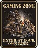 Original RAHMENLOS Blechschild Gaming Zone, enter at your own risk Nr.3456
