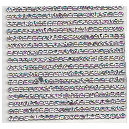 16 Bordüren mit 23 runde selbstklebende rosa Glitzersteine 4 mm